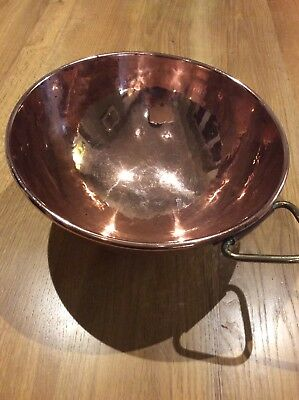 Old Vintage Solid Copper Heavy Duty Mixing Bowl 10 Inch, 26cm.