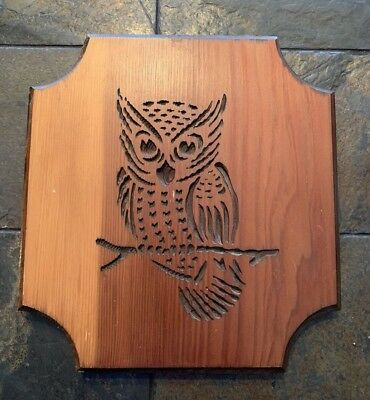 Vintage Handmade in the Black Hills South Dakota Wood Owl Wall Decor Wall Plaque