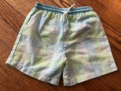 Toddler Boy's PETIT AMI Gingham Swim Trunks - Size 18 Months