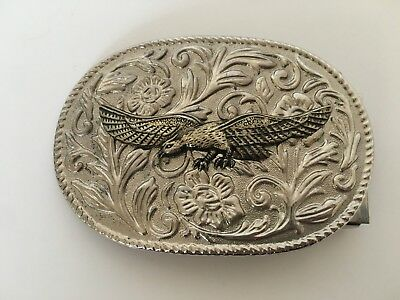Vintage Eagle Belt Buckle Gold and Silver Oval Metal Freedom Patriot American