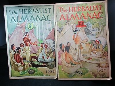 2 Vintage Advertising Herbalist Almanacs 1937 & 1939 Native American Indians