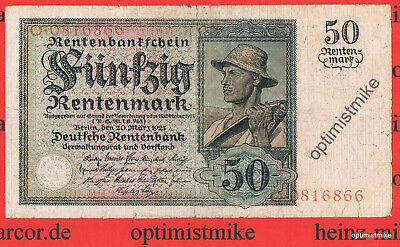 R.162 50 Rentenmark 1925 Sensenmann Germany Mark Pick 171