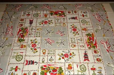 "VINTAGE ""AMERICANA"" TABLECLOTH- VERY COUNTRY-50"" x 50""- W/TAG- NEVER USED-BRIGHT"