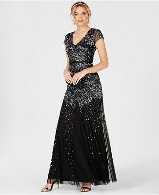 $499 Adrianna Papell Women'S Black Sequin Cap-Sleeve Mermaid Gown Dress Size 6