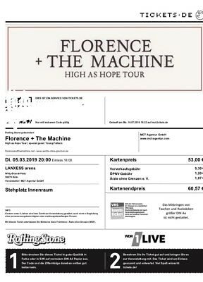 Florence And The Machine High As Hope Tour Innenraum Ticket Köln 05.03.2019