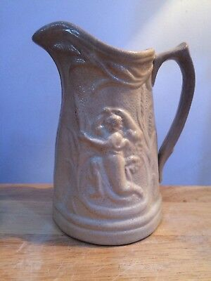 Country House Find - Antique Victorian Salt Glazed Stoneware Jug - Harvest