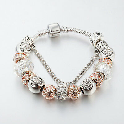 Champagne gold crystal heart One of a kind European & Pandora Charms Bracelet
