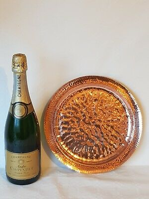 """10"""" Inch Arts & Crafts Movement Copper Charger Double Hammered"""