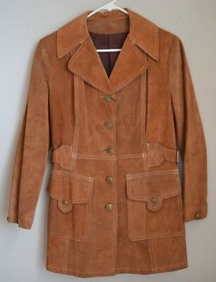 Vintage Suede Leather Tan Jacket Women's 8 (Current size 4-6) Military Buttons