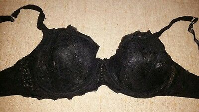 06e91166c01862 GORGOUS BLACK FLORAL lace MATALAN padded underwired bra size 34D ...
