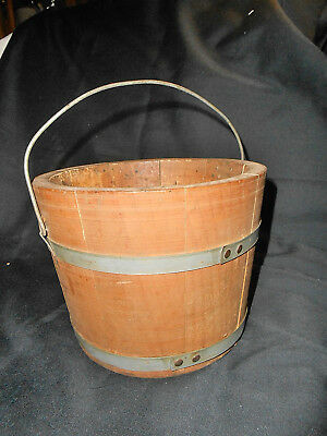Antique Primitive Small Wooden Berry? Bucket Pail Old Vintage Handle