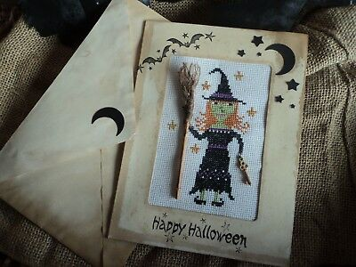 The Primitive Needle Cross stitch Moon Witch Completed Halloween Card broom key