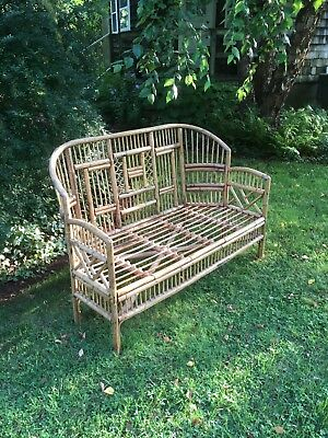 Antique Bamboo Rattan Settee Love Seat Brighton Pavillion Chinese Chippendale