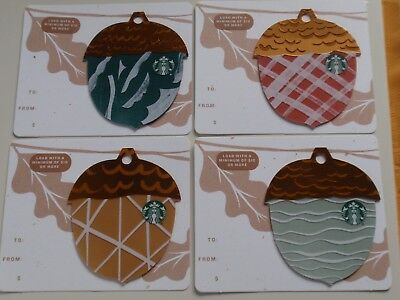STARBUCKS Collectible Gift Card - LOT of 4 Cards - Fall ACORNS - No Value
