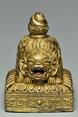 Fine Chinese Gilt Bronze Seal With Characters