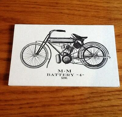 Vintage M.m Motorcycle Battery 4 Post Card