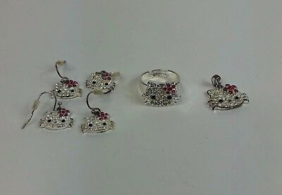 Lot of Hello Kitty Jewelry 4 Ear Rings Ring Charm Silver Pink Kids Bejeweled