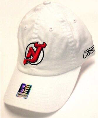 new concept 661e4 b4fdf New Jersey Devils NHL Reebok White Slouch Relaxed Hat Cap Adult Flex Fit  OSFA