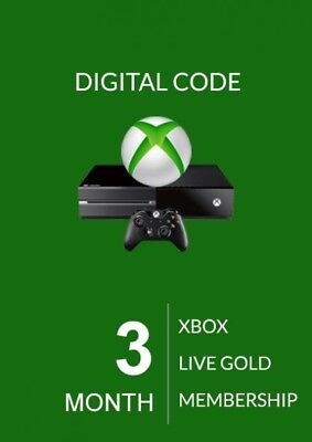 Microsoft 3 Month Xbox Live Gold Membership Subscription Quick Delivery