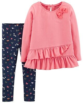 NWT Carters Baby Girl Clothes 12 Months 2 Piece Long Sleeve Shirt Pants Outfit