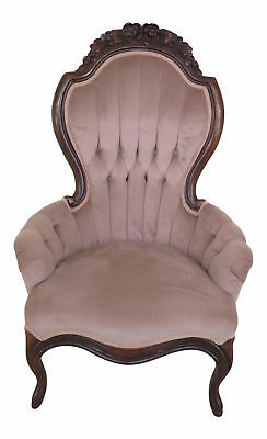 F46006EC: Victorian Style Carved Mahogany Ladies Parlor Chair