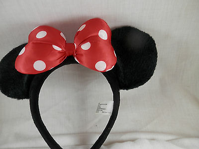 Disney Parks Minnie Mouse Fuzzy Ears Puffy Bow Headband Red Polka Dot Youth