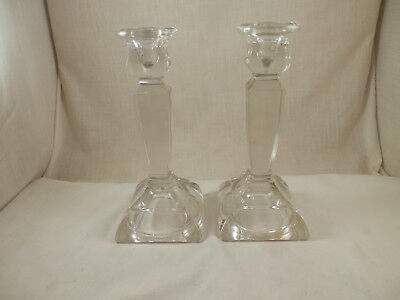 Antique Lead Crystal Candle sticks pair