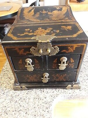 Chinese Asian Jewelry Box with Attached Mirror