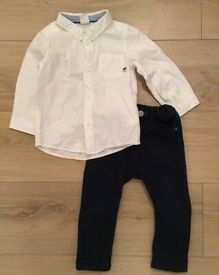 Boys Navy Trousers &  Long Sleeve White Shirt -H&M Age 9-12 Months
