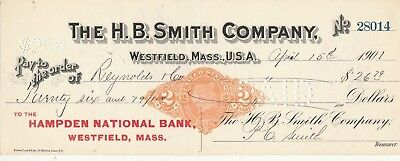 1901 The H.b. Smith Co, Westfield  Massachusetts  W/revenue Stamp
