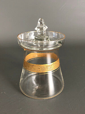 Antique Edwardan Wheeling Decorating Co. clear glass jelly pot & lid 1900s 1910s