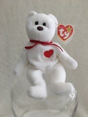Valentino 1993 Beanie Baby White Bear February Love Heart Rare Misprint