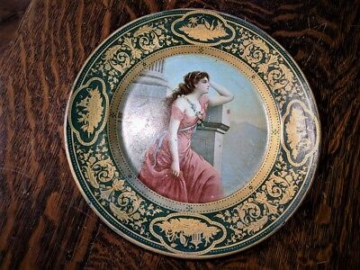 Antique Art Nouveau DRESDEN Art Plate ADRIADNE Portrait Tin Litho advertising
