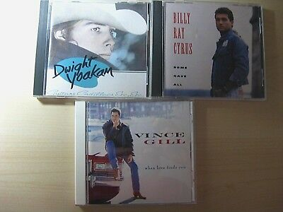 3 Country Music CDs from 1990s - Billy Ray Cyrus, Vince Gill and Dwight Yoakam