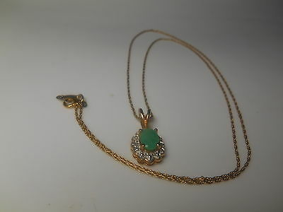 14K Necklace With Jade Jadeite Pendant With Gold Over Sterling