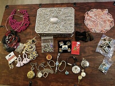 Junk Drawer Lot Godinger Jewelry Box vintage pendant watches earrings