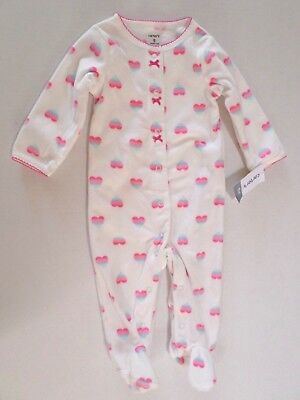 87f424062c05 CARTER S BABY GIRLS Heart Print Fleece Sleeper with Feet White Multi ...
