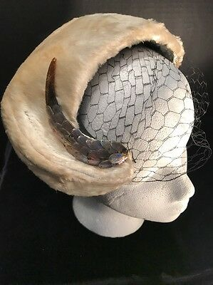 Vintage Ladies Hat Tan Fur with UNIQUE FISH and perfect netting