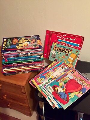 Simpsons ~ Large Book & Comic Bundle (42 Items) Various Conditions