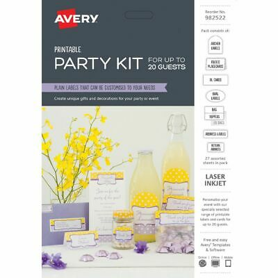 Avery Printable Party Kit Labels Assorted
