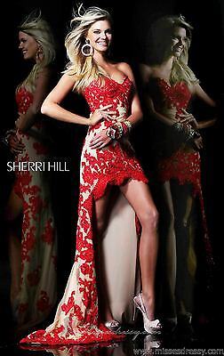 21016 Sherri Hill Hi Lo Red/Nude Lace Evening Formal Prom Gown Dress Size USA 4