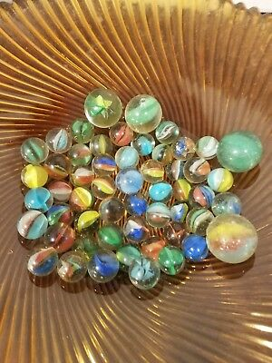 Lot of 51 Vintage Pre 1970 Cat Eye Marbles With 4 Shooters