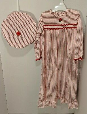 Alexis toddler red and white striped 3t nightgown with cap true vintage