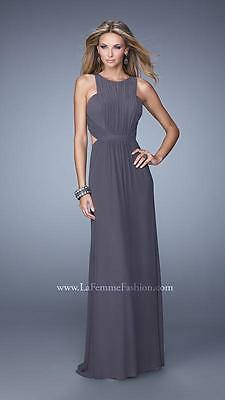 21187 Lafemme Gunmetal Gathered Evening Formal Party Prom Gown Dress Size USA 4