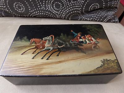 Estate Antique Hand Painted Russian Lacquer Box. Russian Notation and 1915 date.
