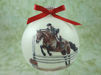 H050 Hand-made Christmas Ornament HORSE- Bay show hunter jumper