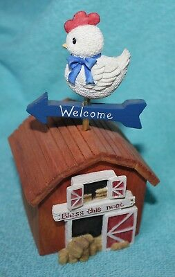 "ENESCO MARY'S HEN HOUSE ""Bless This Nest"" Hen Weathervane Musical figurine"