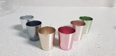Vintage EMKARGAL shot glasses /cups set of 6 anodised multi colour Germany.