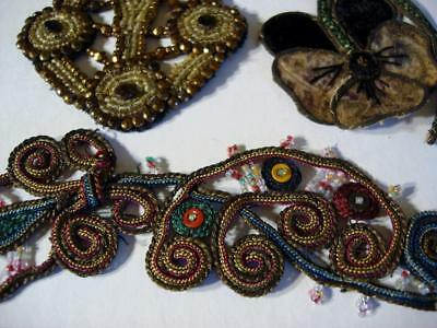 Antique C1920's As Is Lot/3 Beaded And Colorful Applique Pansy Geometric
