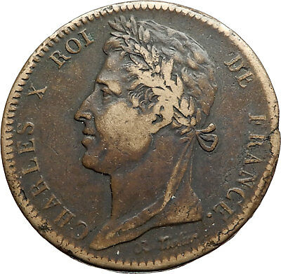 1827 FRENCH COLONIES King Charles X w Trident Antique 10 Centimes Coin i74530